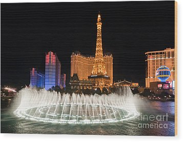 Bellagio Fountains Night 1 Wood Print by Andy Smy