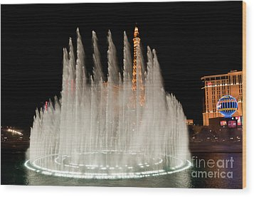 Bellagio Fountains Night 3 Wood Print by Andy Smy