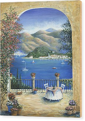 Bellagio Lake Como From The Terrace Wood Print by Marilyn Dunlap
