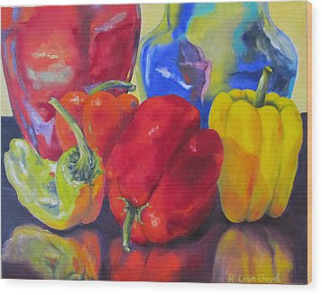 Belle Peppers Wood Print by Lisa Boyd