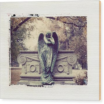 Bellefontaine Angel Polaroid Transfer Wood Print by Jane Linders