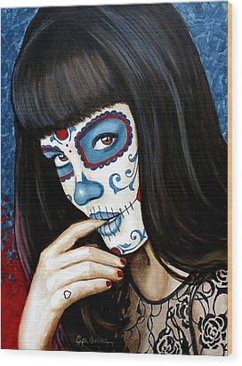 Wood Print featuring the painting Belleza De Encaje Y Corazo by Al  Molina