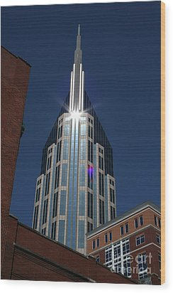 Wood Print featuring the photograph Bellsouth Tower - Nashville Tennessee by John Black
