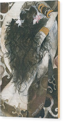 Wood Print featuring the painting Belly Dancer And The Mirror by Maya Manolova