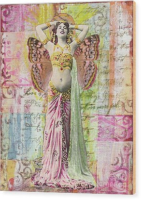 Wood Print featuring the mixed media Belly Dancer by Desiree Paquette