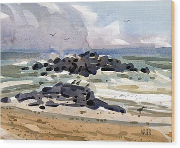 Belmar Jetty Two Wood Print by Donald Maier