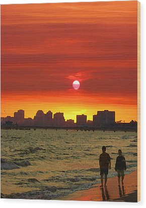 Belmont Shore Sunset Wood Print by Timothy Bulone