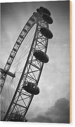 Below London's Eye Bw Wood Print by Kamil Swiatek