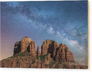 Below The Milky Way At Cathedral Rock Wood Print