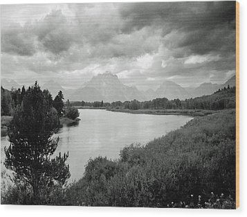 Below The Tetons Wood Print