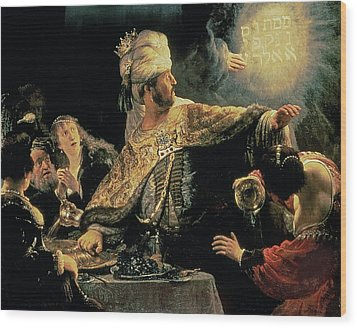 Belshazzars Feast Wood Print by Rembrandt