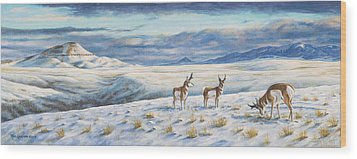 Wood Print featuring the painting Belt Butte Winter by Kim Lockman