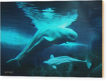 Wood Print featuring the digital art Belugas Of The Arctic by Rhonda Strickland