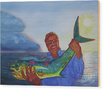Ben And The Dolphin Fish Wood Print by Kathy Braud