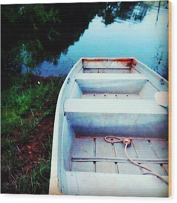 Rusted Boat Wood Print by Jen McKnight