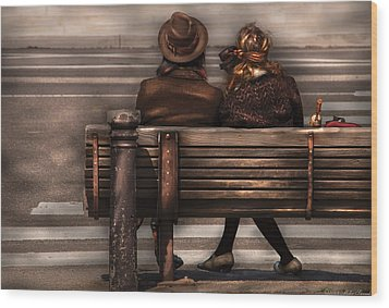 Bench - A Couple Out Of Time Wood Print by Mike Savad