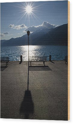 Bench And Street Lamp Wood Print by Mats Silvan