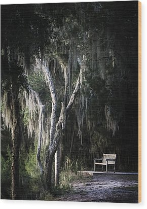 Bench At Sunset Wood Print by Chrystal Mimbs