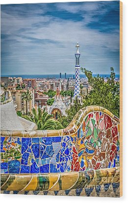 Bench Of Barcelona Wood Print