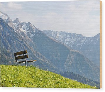 Bench Wood Print by Rolfo Eclaire