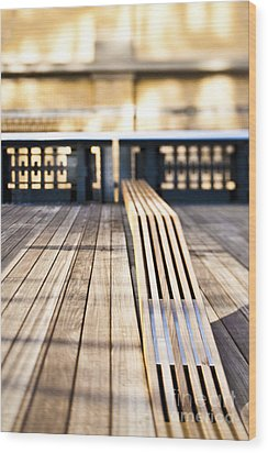 Benches At The High Line Park Wood Print by Eddy Joaquim