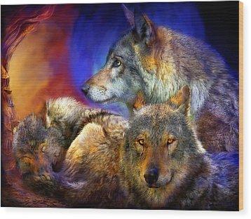 Beneath A Blue Moon Wood Print by Carol Cavalaris