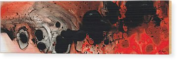 Beneath The Fire - Red And Black Painting Art Wood Print by Sharon Cummings