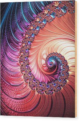 Beneath The Sea Spiral Wood Print