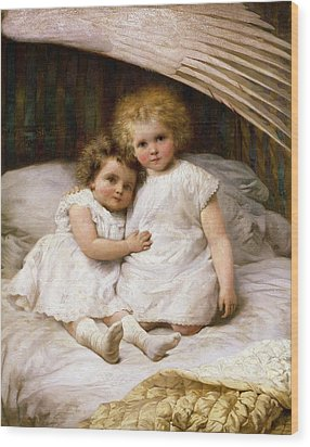 Beneath The Wing Of An Angel Wood Print by William Strutt