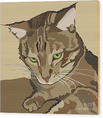 Bengal Kitty Pet Portrait Wood Print