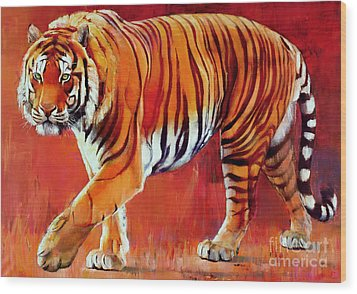 Bengal Tiger  Wood Print by Mark Adlington