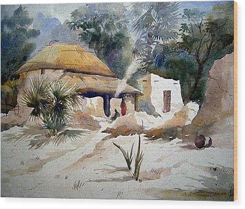 Wood Print featuring the painting Bengal Village by Samiran Sarkar