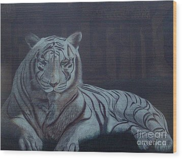 Bengala Tiger Wood Print by Fanny Diaz