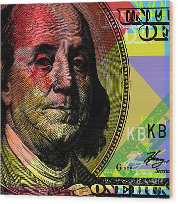 Benjamin Franklin - $100 Bill Wood Print