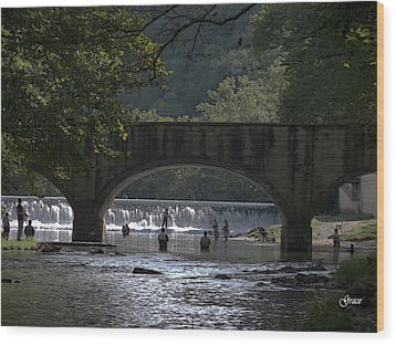 Bennett Springs Bridge Wood Print by Julie Grace