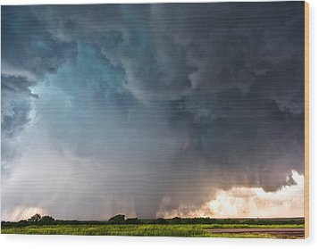 Bennington Kansas Tornado Structure Wood Print