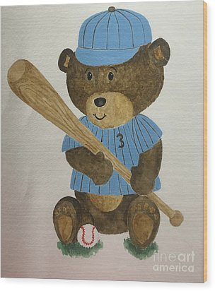 Wood Print featuring the painting Benny Bear Baseball by Tamir Barkan
