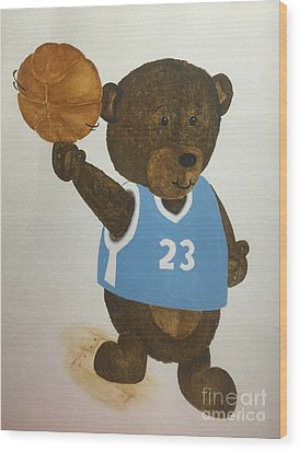 Wood Print featuring the painting Benny Bear Basketball  by Tamir Barkan