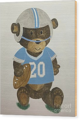 Wood Print featuring the painting Benny Bear Football by Tamir Barkan