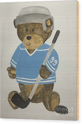 Wood Print featuring the painting Benny Bear Hockey by Tamir Barkan
