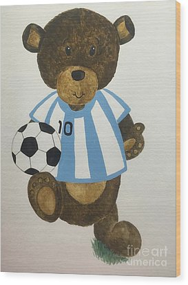 Wood Print featuring the painting Benny Bear Soccer by Tamir Barkan