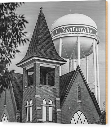 Wood Print featuring the photograph Bentonville Arkansas Cityscape Church Water Tower - Black And White by Gregory Ballos