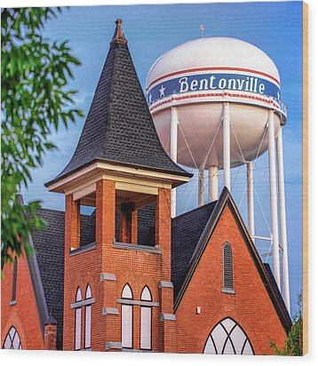 Wood Print featuring the photograph Bentonville Arkansas Cityscape Church Water Tower by Gregory Ballos
