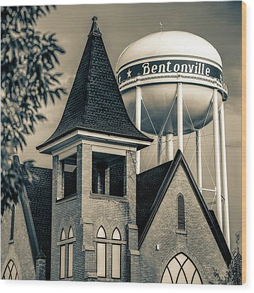 Wood Print featuring the photograph Bentonville Arkansas Cityscape Church Water Tower - Sepia by Gregory Ballos