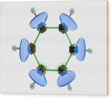 Benzene Molecule Wood Print by Lawrence Lawry