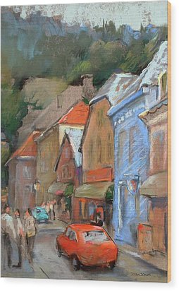 Bergen Sentrum Wood Print by Joan  Jones