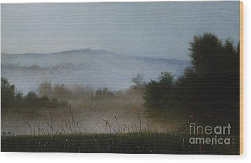Berkshire Morning Mist Wood Print by Larry Preston