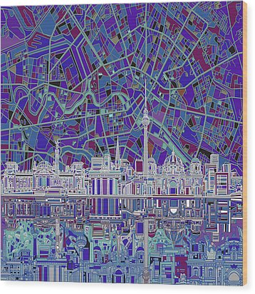 Berlin City Skyline Abstract 3 Wood Print by Bekim Art