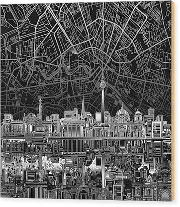 Berlin City Skyline Abstract 4 Wood Print by Bekim Art