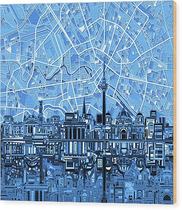 Berlin City Skyline Abstract Blue Wood Print by Bekim Art